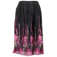 Skirts - Georgette Micro Pleat - Calf Length - Floral Border Black-Pink