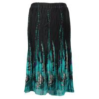 Skirts - Georgette Micro Pleat - Calf Length - Floral Border Black-Turquoise