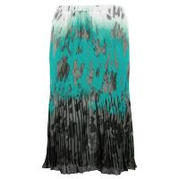 Skirts - Georgette Micro Pleat - Calf Length - Spots Teal-Grey