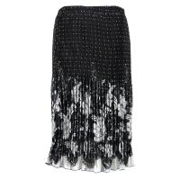 Skirts - Georgette Micro Pleat - Calf Length - Flowers and Dots Black-White