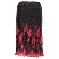 Skirts - Georgette Micro Pleat - Calf Length - Flowers and Dots Black-Pink