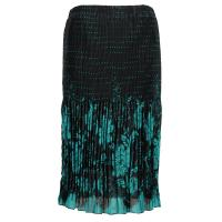 Skirts - Georgette Micro Pleat - Calf Length - Flowers and Dots Black-Turquoise