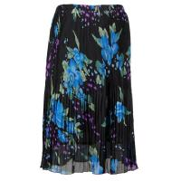 Skirts - Georgette Micro Pleat - Calf Length - Black-Blue Floral