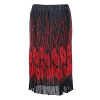 Skirts - Georgette Micro Pleat - Calf Length - Red Poppies on Black