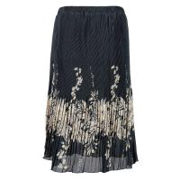 Skirts - Georgette Micro Pleat - Calf Length - Ivory Floral on Black