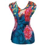 Georgette Mini Pleats - Cap Sleeve V-Neck - Paint Splatter Floral - Blue