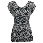 Georgette Mini Pleats - Cap Sleeve V-Neck - Zebra Stripe