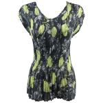 Georgette Mini Pleats - Cap Sleeve V-Neck - Black-Kiwi Floral