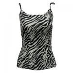 Georgette Mini Pleat Spaghetti Tank - Zebra Stripe