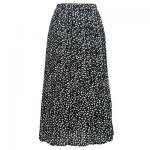 Georgette Mini Pleat Ankle Length Skirt - Polka Dot Black-White