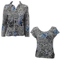 Twin Sets Silky Touch - Blouse / Cap Sleeve - Reptile Floral - Blue