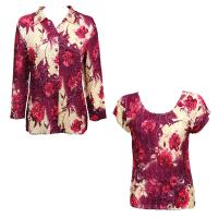 Twin Sets Satin - Blouse / Cap Sleeve - Rose Floral - Berry
