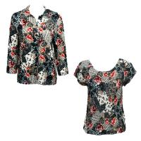 Twin Sets Satin - Blouse / Cap Sleeve - White-Black-Red Abstract