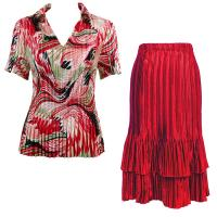 Sets Satin Mini Pleat - Half Sleeve with Collar - Abstract Red-White - Red Skirt