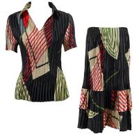 Sets Satin Mini Pleat - Half Sleeve with Collar - Art Deco Olive-Red