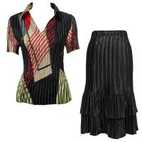 Sets Satin Mini Pleat - Half Sleeve with Collar - Art Deco Olive-Red - Black Skirt