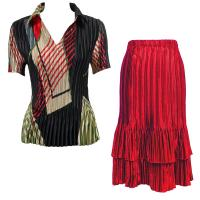 Sets Satin Mini Pleat - Half Sleeve with Collar - Art Deco Olive-Red - Red Skirt