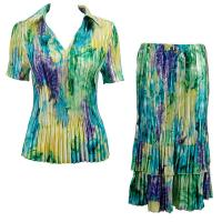 Sets Satin Mini Pleat - Half Sleeve with Collar - Blue-Purple-Yellow Watercolors