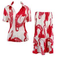 Sets Satin Mini Pleat - Half Sleeve with Collar - Red on White