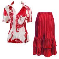 Sets Satin Mini Pleat - Half Sleeve with Collar - Red on White - Red Skirt