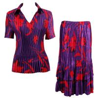 Sets Satin Mini Pleat - Half Sleeve with Collar - Red Tulips on Purple