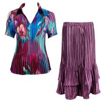 Sets Satin Mini Pleat - Half Sleeve with Collar - Red-Blue Flower - Eggplant Skirt
