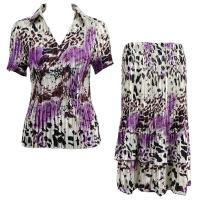 Sets Satin Mini Pleat - Half Sleeve with Collar - Reptile Floral Purple