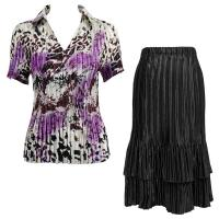 Sets Satin Mini Pleat - Half Sleeve with Collar - Reptile Floral Purple - Black Skirt
