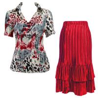 Sets Satin Mini Pleat - Half Sleeve with Collar - Reptile Floral Red - Red Skirt