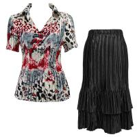 Sets Satin Mini Pleat - Half Sleeve with Collar - Reptile Floral Red - Black Skirt