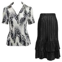 Sets Satin Mini Pleat - Half Sleeve with Collar - White-Black Swirl Dots - Black Skirt