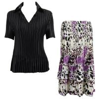 Sets Satin Mini Pleat - Half Sleeve with Collar - Solid Black - Reptile Floral Purple Skirt