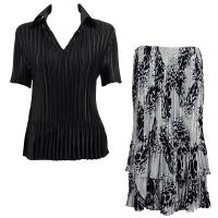 Sets Satin Mini Pleat - Half Sleeve with Collar - Solid Black - White-Black Swirl Dots Skirt