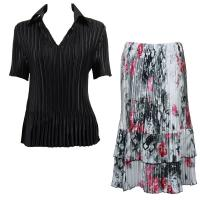 Sets Satin Mini Pleat - Half Sleeve with Collar - Solid Black - White-Black-Pink Floral Skirt