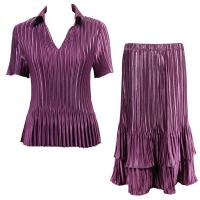 Sets Satin Mini Pleat - Half Sleeve with Collar - Solid Eggplant