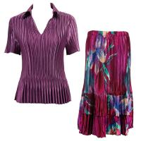 Sets Satin Mini Pleat - Half Sleeve with Collar - Solid Eggplant - Red-Blue Flower Skirt