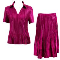 Sets Satin Mini Pleat - Half Sleeve with Collar - Solid Magenta