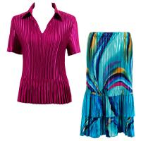 Sets Satin Mini Pleat - Half Sleeve with Collar - Solid Magenta - Half Moon Blue-Yellow Skirt