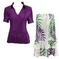 Sets Satin Mini Pleat - Half Sleeve with Collar - Solid Purple - Palm Leaf Green-Purple Skirt