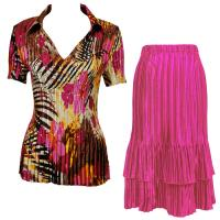 Sets Satin Mini Pleat - Half Sleeve with Collar - Jungle Floral Pink - Magenta Skirt
