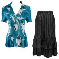Sets Satin Mini Pleat - Half Sleeve with Collar - White Tulips on Teal - Black Skirt