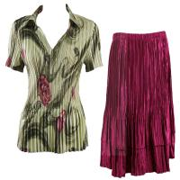 Sets Satin Mini Pleat - Half Sleeve with Collar - Multi Green Floral - Ruby Skirt
