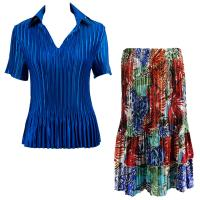 Sets Satin Mini Pleat - Half Sleeve with Collar - Solid Royal - Abstract Blue-Red Skirt