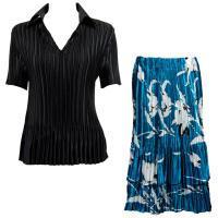 Sets Satin Mini Pleat - Half Sleeve with Collar - Solid Black - White Tulips on Teal Skirt