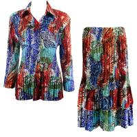 Sets Satin Mini Pleat - Blouse / Skirt - Abstract Blue-Red