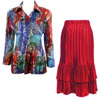 Sets Satin Mini Pleat - Blouse / Skirt - Abstract Blue-Red - Red Skirt