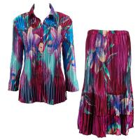 Sets Satin Mini Pleat - Blouse / Skirt - Red-Blue Flower