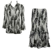 Sets Satin Mini Pleat - Blouse / Skirt - White-Black Swirl Dots - Black Skirt