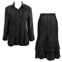 Sets Satin Mini Pleat - Blouse / Skirt - Solid Black