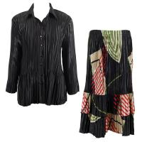 Sets Satin Mini Pleat - Blouse / Skirt - Solid Black - Art Deco Olive-Red Skirt